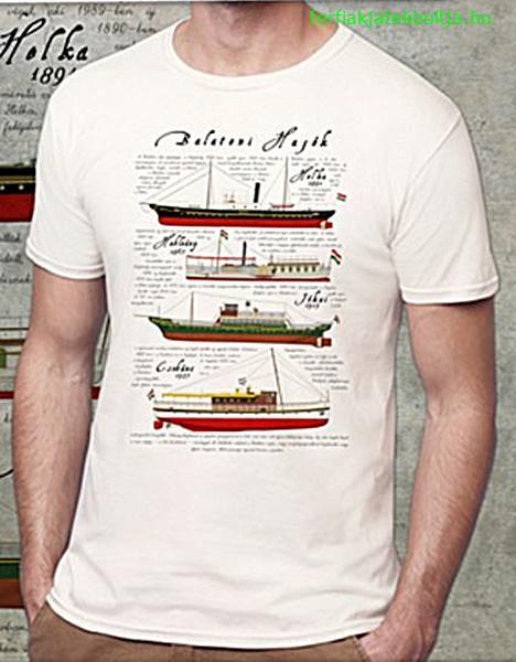 Balatoni hajók mintás férfi póló 6ddb6d7daa