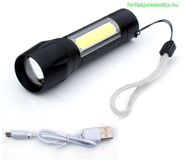 Akkumulátoros lámpa USB töltővel, oldalfénnyel