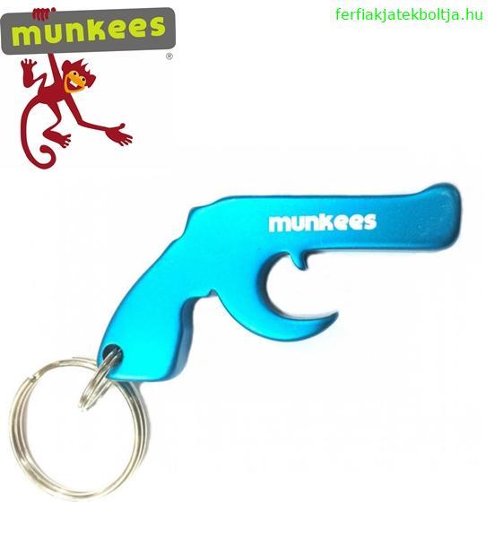 Munkees sörnyitó kulcstartó, pisztoly, 3470