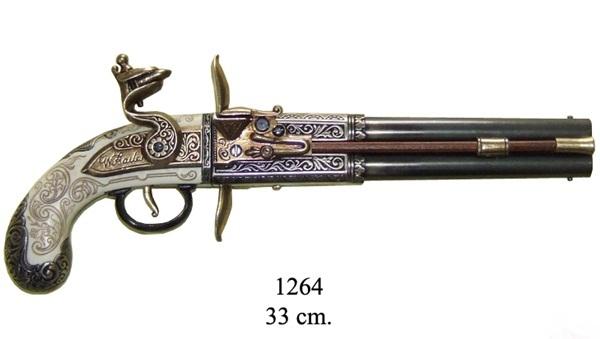 Angol kétcsövű kovás pisztoly, 100-1264