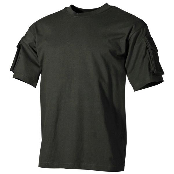 US katonai póló zsebekkel, fekete, 00121A