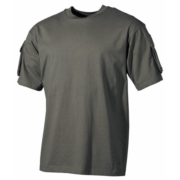US katonai póló zsebekkel, olív, 00121B