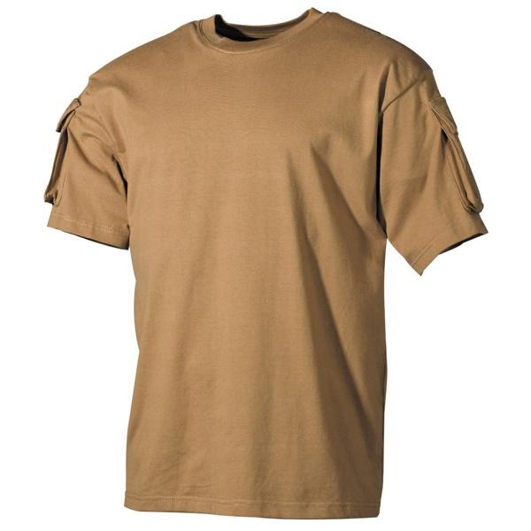 US katonai póló zsebekkel, coyote, 00121R