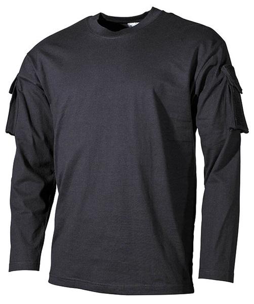 US katonai póló zsebekkel, hosszúujjú, fekete, 00123A