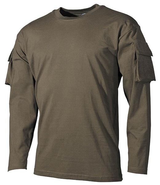 US katonai póló zsebekkel, hosszúujjú, olív, 00123B