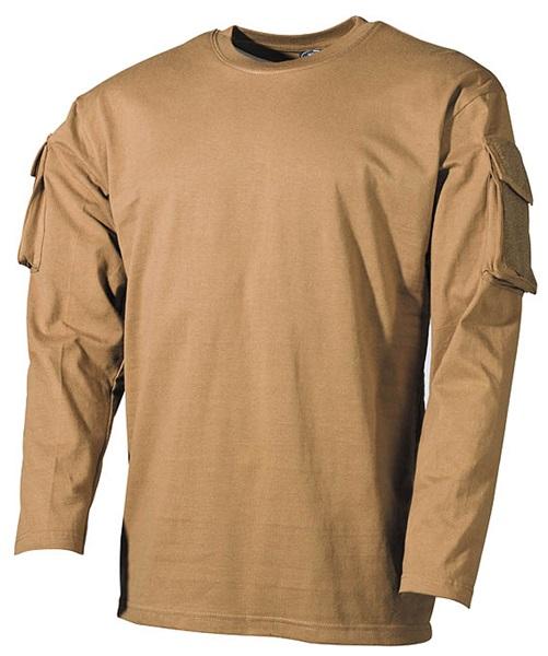 US katonai póló zsebekkel, hosszúujjú, coyote, 00123R