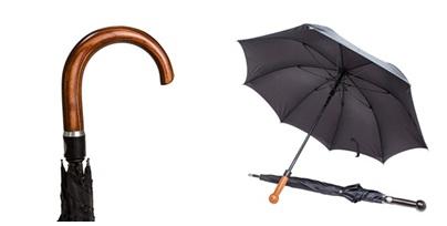 Önvédelmi esernyő hajlított markolattal