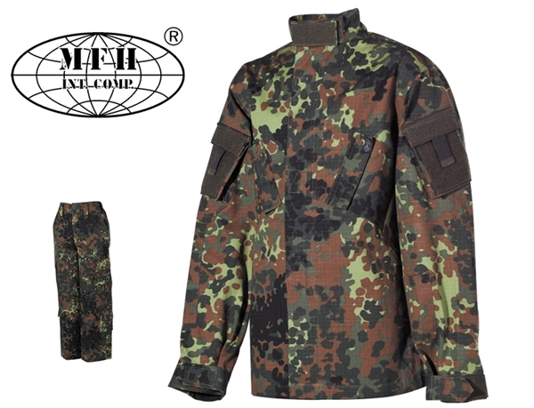 Terepszínű gyermek ruha szett, kabát és nadrág, flecktarn, 17213V
