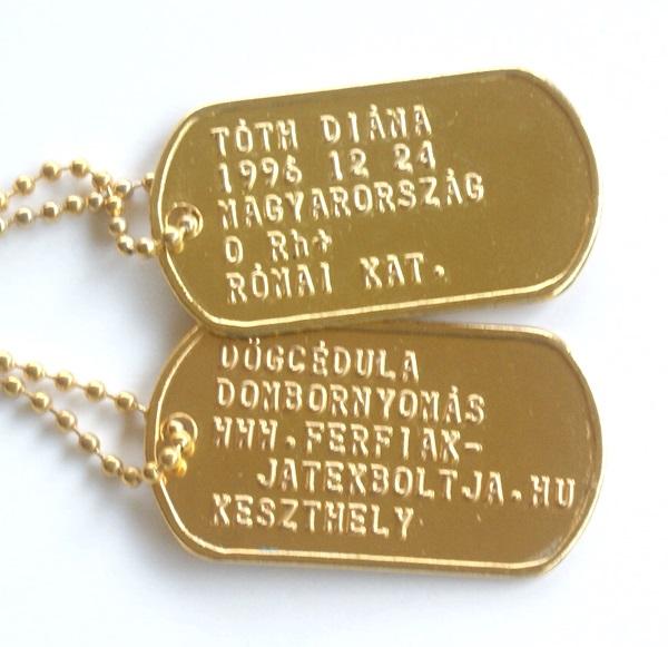Dombornyomott US dögcédula, arany színű