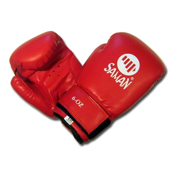 Saman Dx-Pu gyermek boxkesztyű, műbőr, piros, 6 OZ, 2766