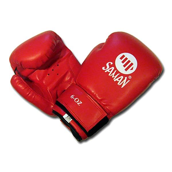 Saman Dx-Pu gyermek boxkesztyű, műbőr, piros, 8 OZ, 2767