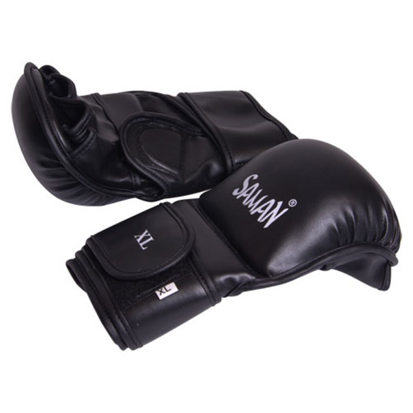 Saman Sparring Skyntex műbőr MMA kesztyű, hajlított, fekete