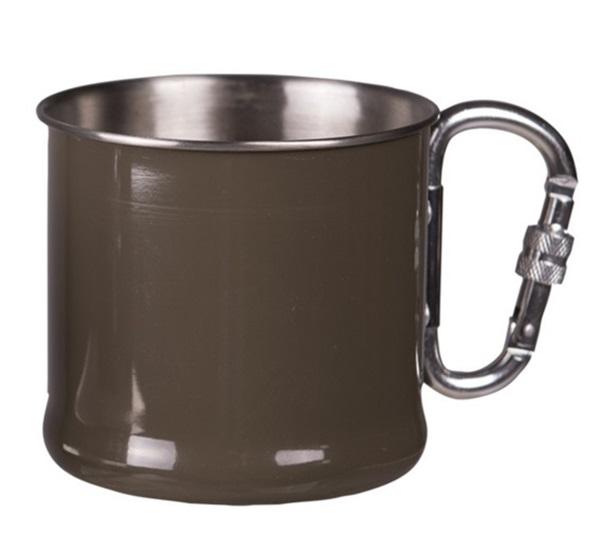 Rozsdamentes pohár karabínerrel, 0,5 l, olív, 14608202