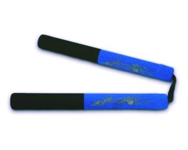 Szivacsos, gyakorló  nunchaku zsinórral, kék-fekete, 8055