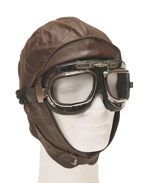 Repülős sisak, bőr, barna, 12425009