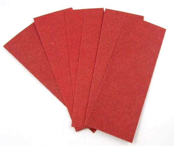 Vulcanfiber lapok, 6 db, 0,45 mm-es, piros, 98002