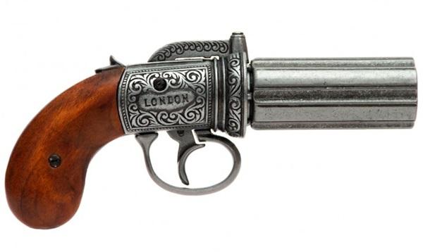 Angol hatcsövű pisztoly, ezüst, 100-1071