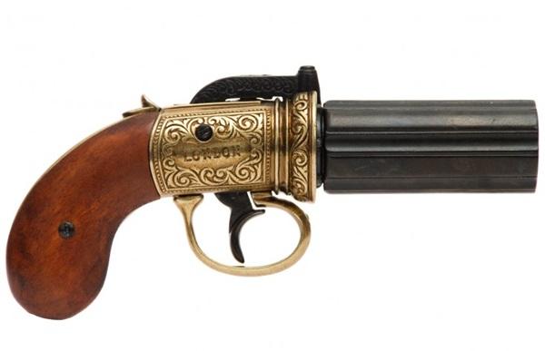Angol hatcsövű pisztoly, arany, 100-71