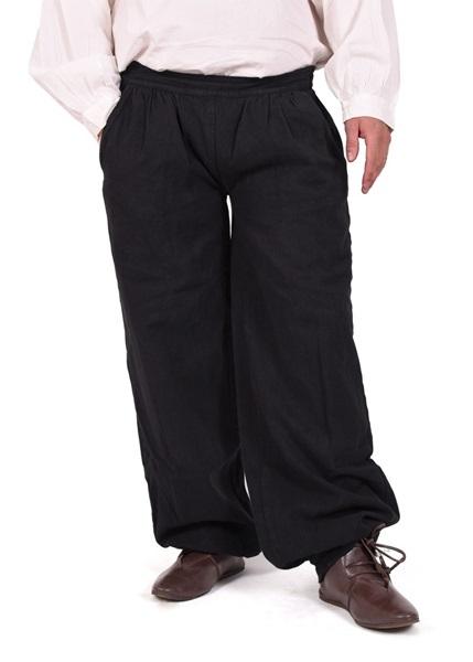 Középkori pamut nadrág, fekete, 1280000720