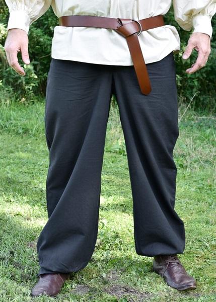 Középkori pamut nadrág, fekete, 1202208720