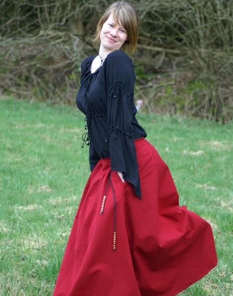Középkori szoknya, piros, 1216303080