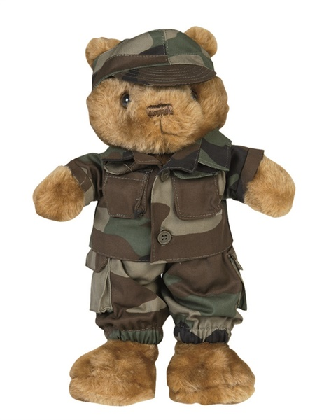 Kicsi Teddy plüssmaci terepruhában, woodland, 16428020