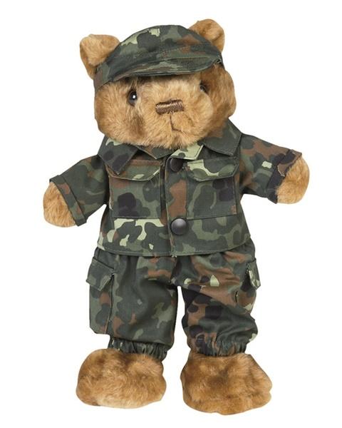 Kicsi Teddy plüssmaci terepruhában, flecktarn, 16428021
