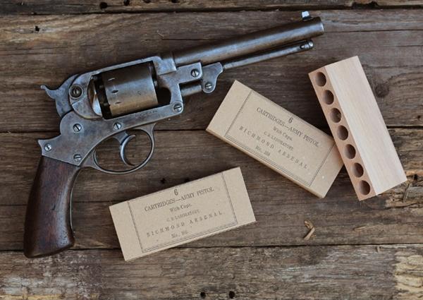 Autentikus konföderációs revolver tölténytartó doboz .44