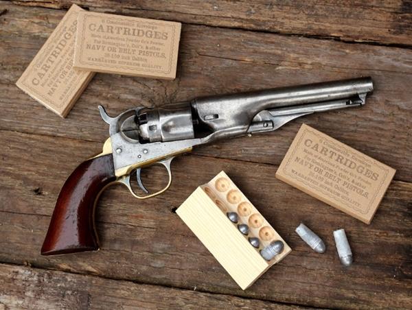 Autentikus polgárháborús revolver tölténytartó doboz .36