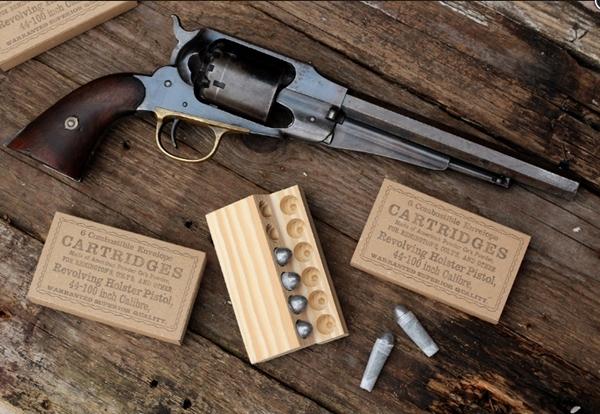 Autentikus polgárháborús revolver tölténytartó doboz .44