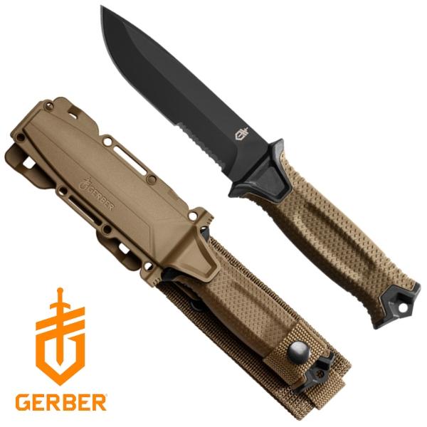 Gerber Strongarm taktikai tőr, félig fogazott pengével, coyote, 22-30-001059