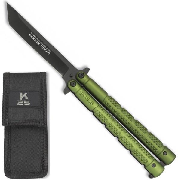 K25 Balisong Tanto Green pillangókés, 36249
