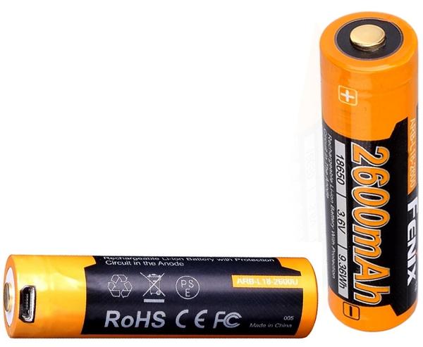 Fenix tölthető elem, beépített mikro-USB töltőnyílással, 18650, 2600 mAh