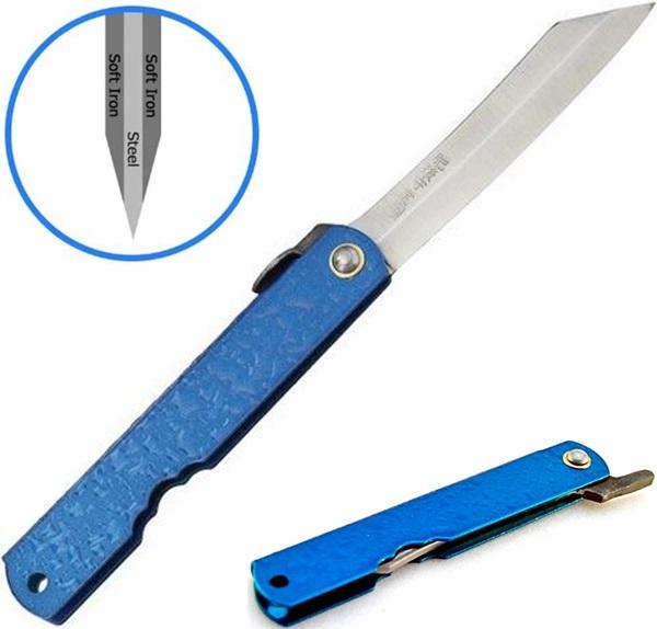 Higonokami Mizushibuki Blue 80, Blue Steel