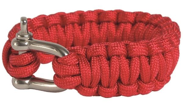 Paracord karkötő seklivel, piros, 2,2 cm, 16370410