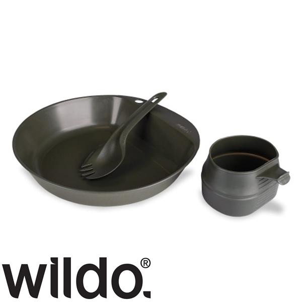 Wildo® három részes svéd étkészlet pohárral, oliv, 14673001