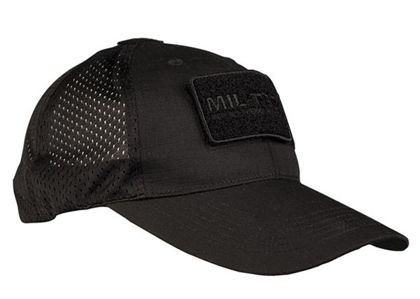 Hálós baseball sapka tépőzáras rögzítési pontokkal, fekete, 12317602