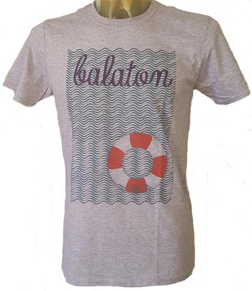 Balatoni hullám mintázatú férfi póló, sportszürke