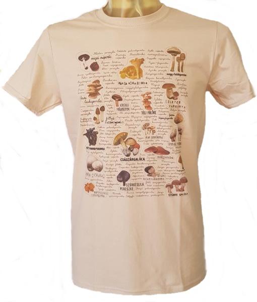 Gombafajták mintázatú férfi póló, homok