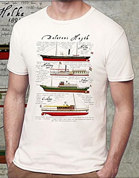 Balatoni hajók mintás férfi póló, fehér