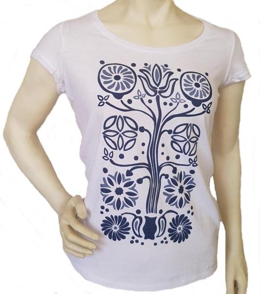 Bánffyhunyadi életfa mintázatú női póló, fehér