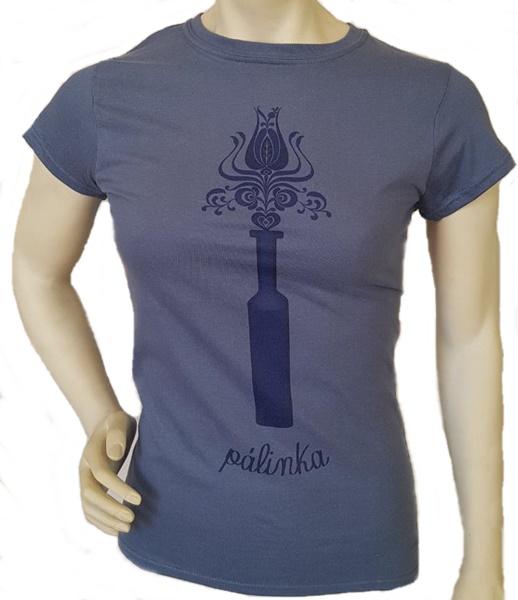Pálinkás üveg mintázatú női póló, indigó