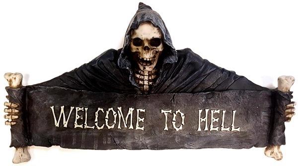 Welcome To Hell csontvázas, nagyméretű üdvözlőtábla, 766-5240
