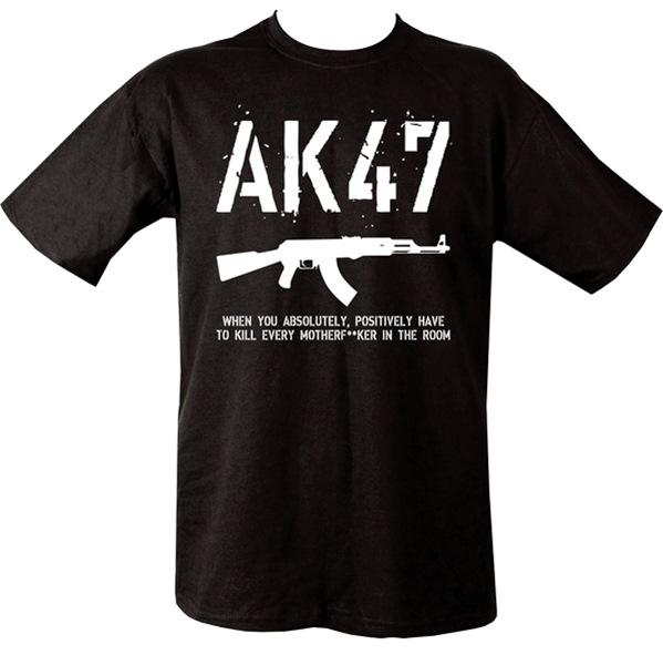 AK47-es feliratú férfi póló, fekete