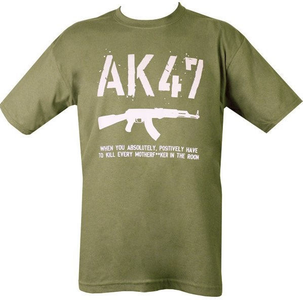AK47-es feliratú férfi póló, oliv