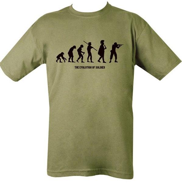 Evolution, katona evolúciója férfi póló, oliv