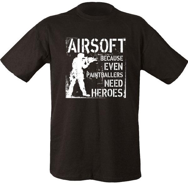 Paintballers Need Heroes Airsoft férfi póló, fekete