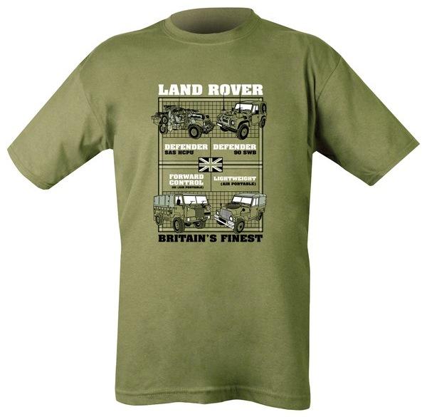 Land Rover mintázatú férfi póló, oliv