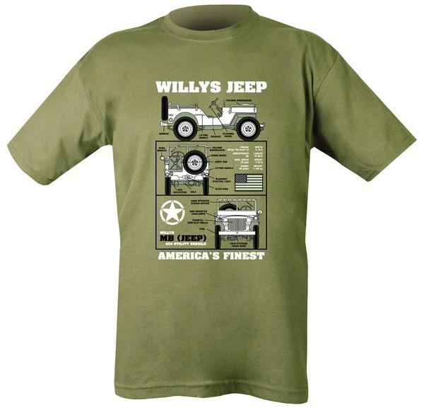 Willys Jeep mintázatú férfi póló, oliv