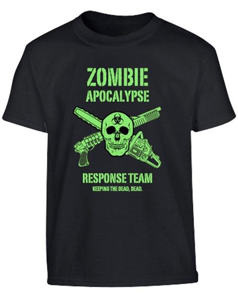 Zombie apocalypse gyerek póló, fekete-neonzöld